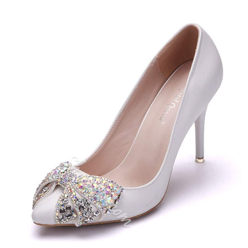 Shoespie Pointed Toe Bow Stiletto Heel Wedding Bridal Shoes