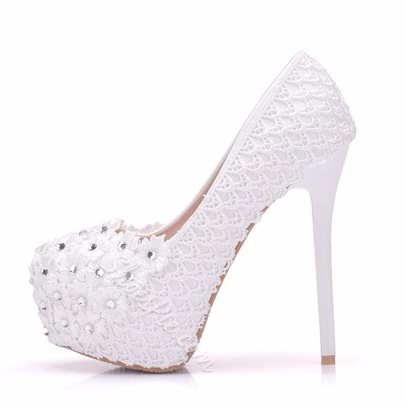 Shoespie Sexy White Platform Stiletto Heel Round Toe Wedding Bridal Shoes