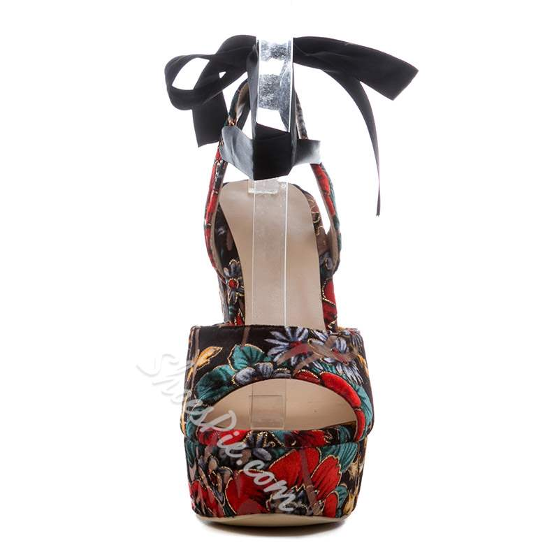 Shoespie Trendy Lace-Up Open Toe Banquet Wedge Heel Sandals