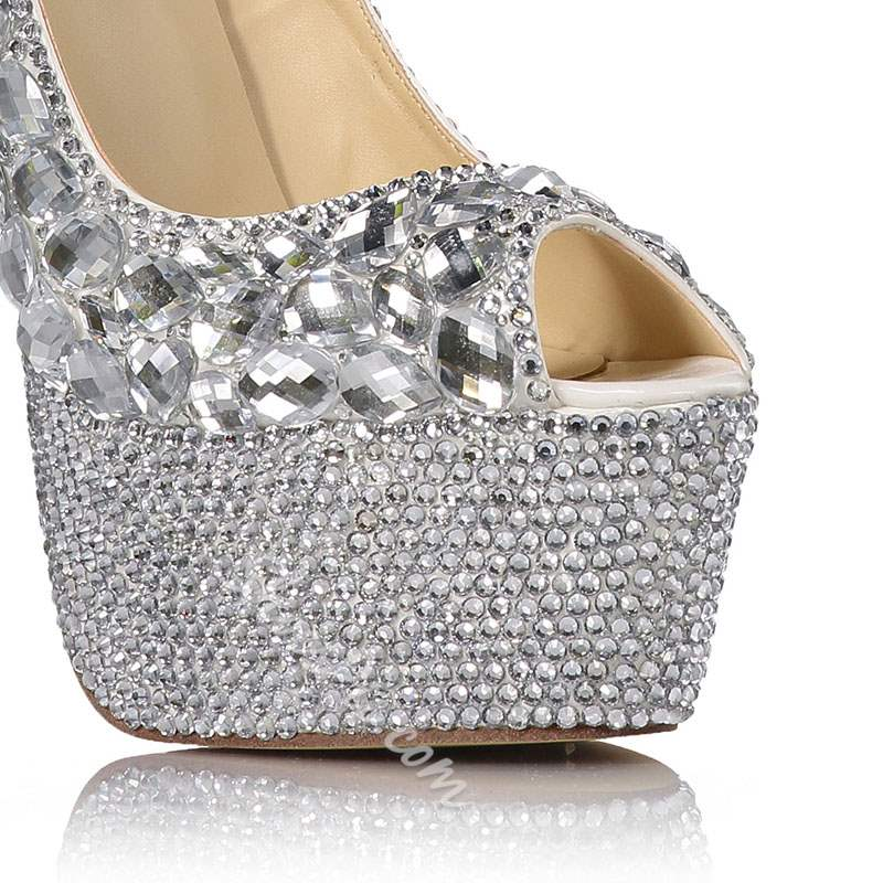 Shoespie Peep Toe Slip-On Heel Covering Banquet Wedding Bridal Shoes
