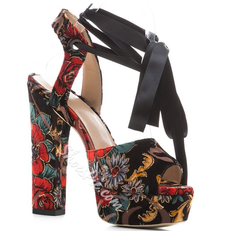 Shoespie Sexy Flower Ankle Strap Lace-Up Open Toe Platform Sandals