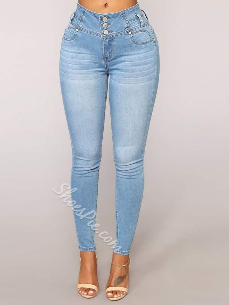 Pencil Pants Button Plain Slim Women's Jeans