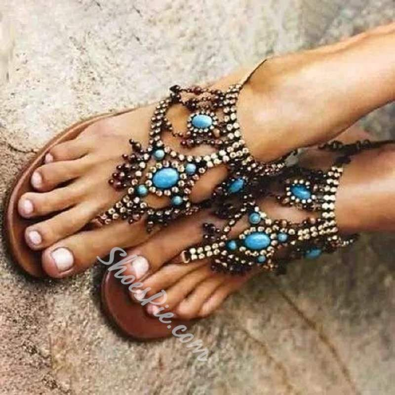 Shoespie Trendy Elastic Band Flat With Open Toe Sandals