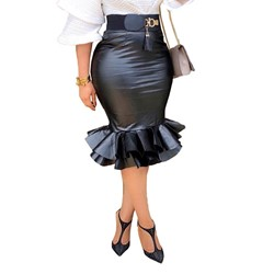 Plain Knee-Length Patchwork High-Waist Women's Skirt