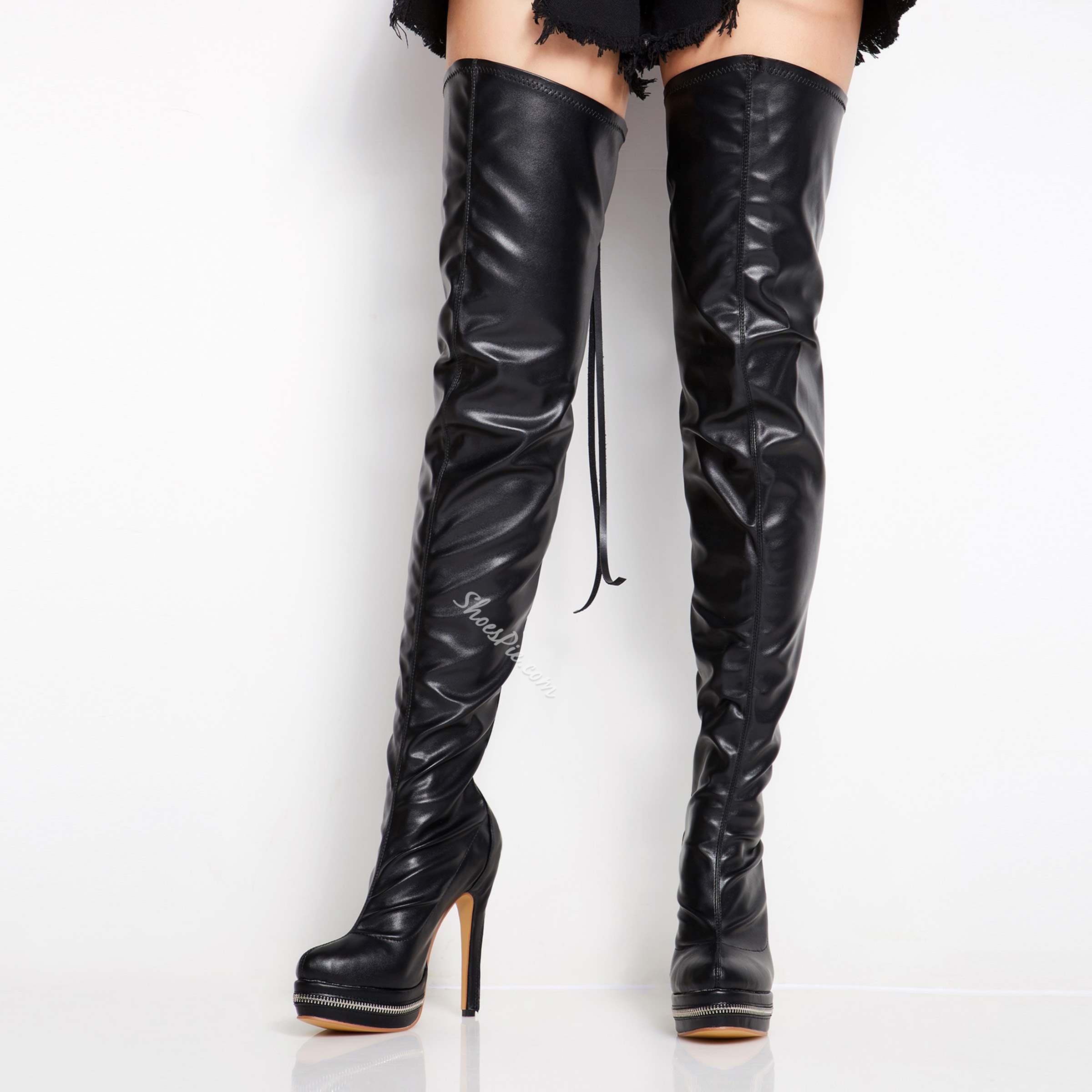 Shoespie Sexy Back Zipper Genuine Leather Over Knee High Stiletto Boots