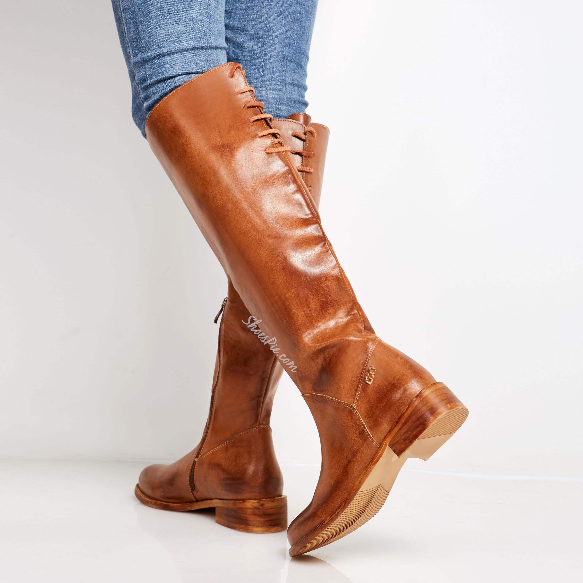 Shoespie Vintage Brush Off Back Lace Up Flat Boots