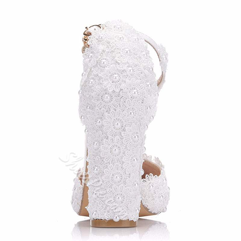 Shoespie Stylish Chunky Heel Buckle Lace Wedding Bridal Shoes