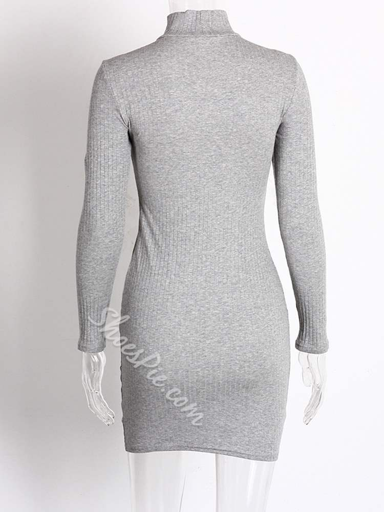 Turtleneck Long Sleeve Lace-Up Women's Bodycon Dress