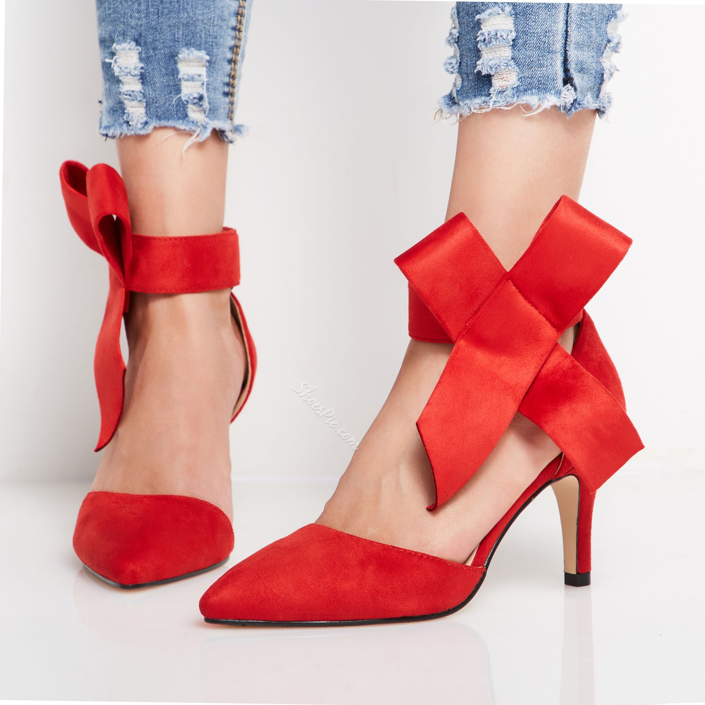 Shoespie Stylish Bow Pointed Toe Stiletto Heel Low Heels