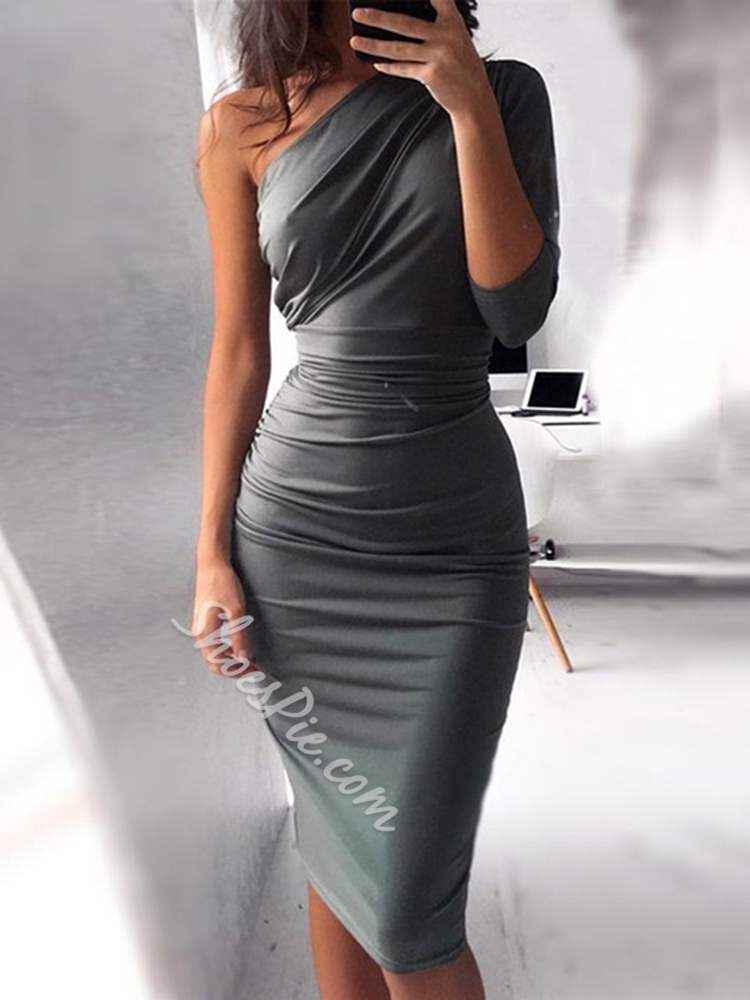 Asymmetric Knee-Length Polyester Women's Bodycon Dress