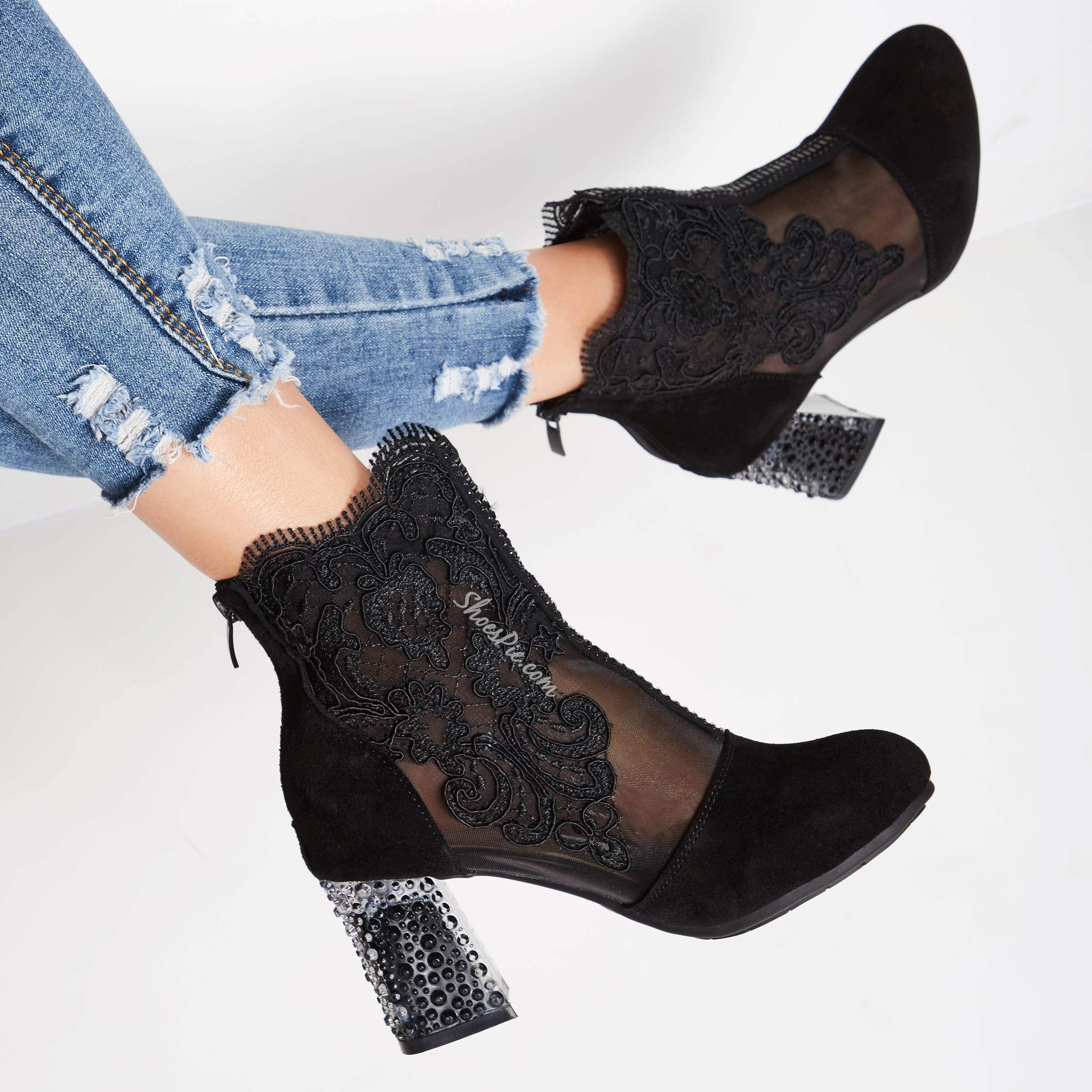 Shoespie Sexy Lace Black Embroidery Chunky Heel Boots