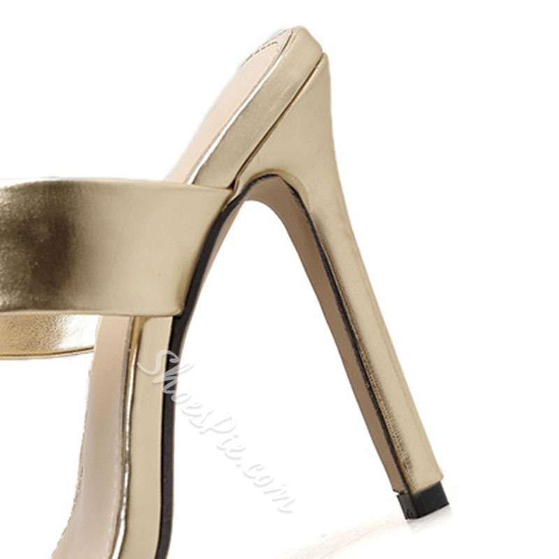 Shoespie Snake Print Clear Stiletto Heel Mules