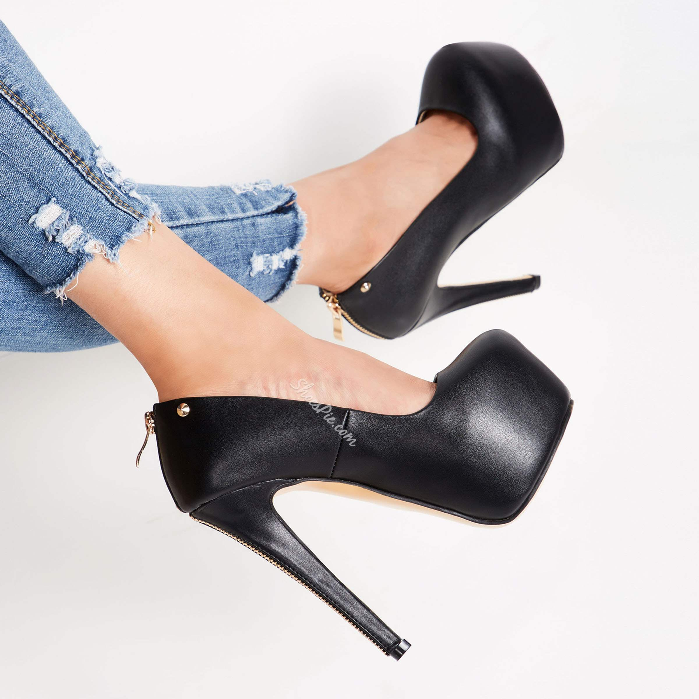 Shoespie Black Concise Zipper Decorated Platform Stiletto Heels