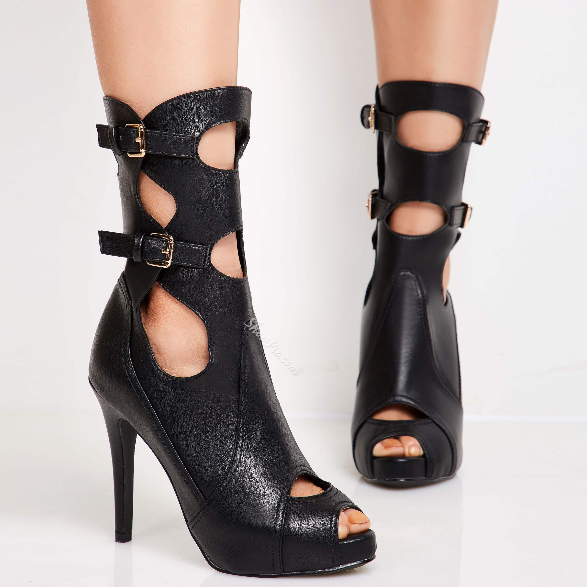 Shoespie Chic Black Cutout Pee Toe Ankle Boots