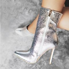 Shoespie Pointed Toe Side Zipper Stiletto Heel Ankle Glitter Boots