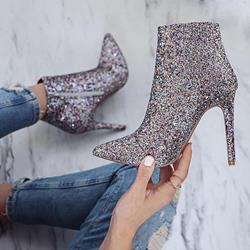 Shoespie Sequins Stiletto Heel Pointed Toe Ankle Glitter Boots