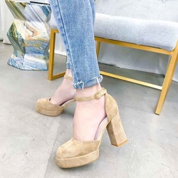 Shoespie Buckle Platform Chunky Heel Pumps
