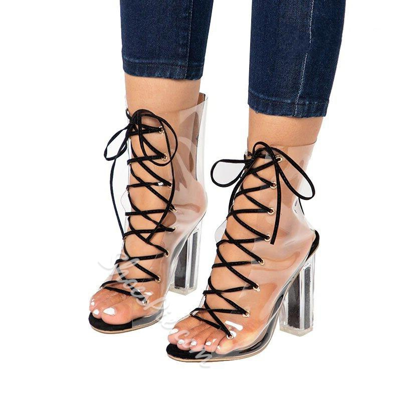 Shoespie Sexy Peep Toe Lace-Up Chunky Heel Dress Sandals