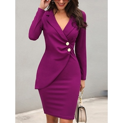 Knee-Length Long Sleeve Notched Lapel Spring Women's Bodycon Dress