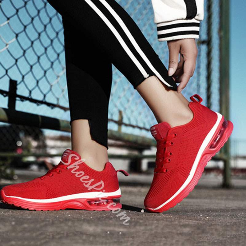 Shoespie Air Cushion Lace-Up Low-Cut Upper Mesh Sneakers