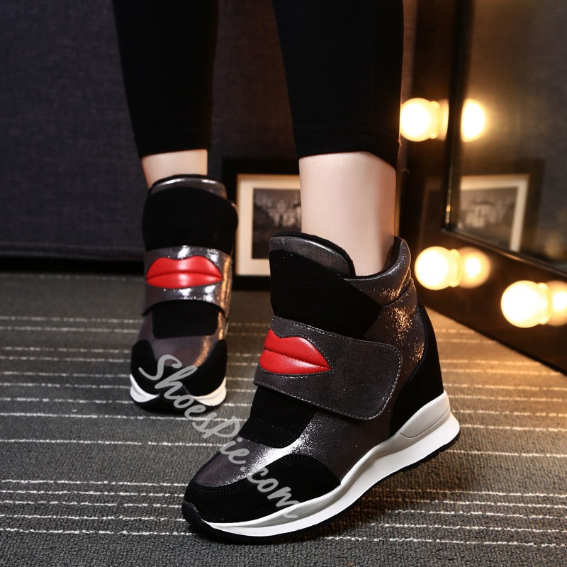 Shoespie Trendy High-Cut Upper Velcro Round Toe Casual Sneakers