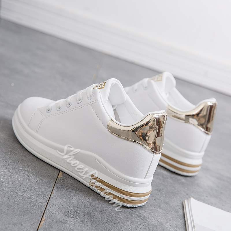 Shoespie Sexy Platform Low-Cut Upper Lace-Up PU Sneakers