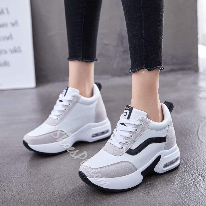 Shoespie Trendy Lace-Up Mid-Cut Upper Round Toe Platform Sneakers