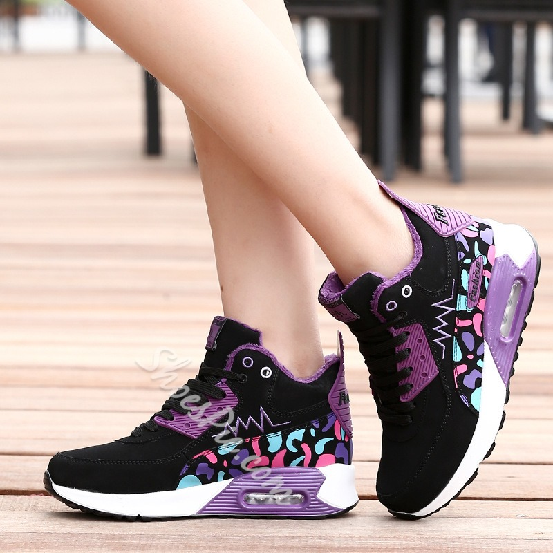 Shoespie Sexy Round Toe Mid-Cut Upper Lace-Up Color Block Sneakers