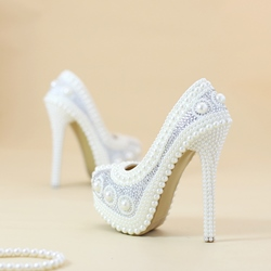 Shoespie Sexy Slip-On Beads Round Toe Wedding Bridal Shoes