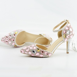 Shoespie Trendy Line-Style Buckle Stiletto Heel Rhinestone Bridal Shoes