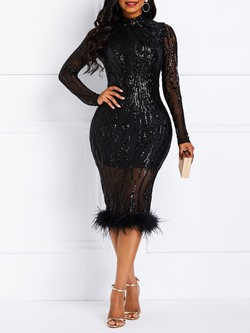 Mid-Calf Patchwork Sequins Elegant Women's Bodycon Dress