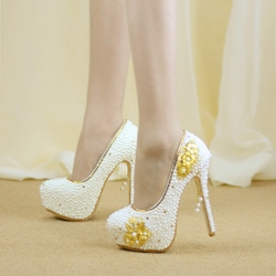Shoespie Sexy Slip-On Round Toe High Heel Bridal Shoes