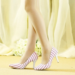 Shoespie Stylish Beads Slip-On Pointed Toe Stripe Wedding Bridal Shoes