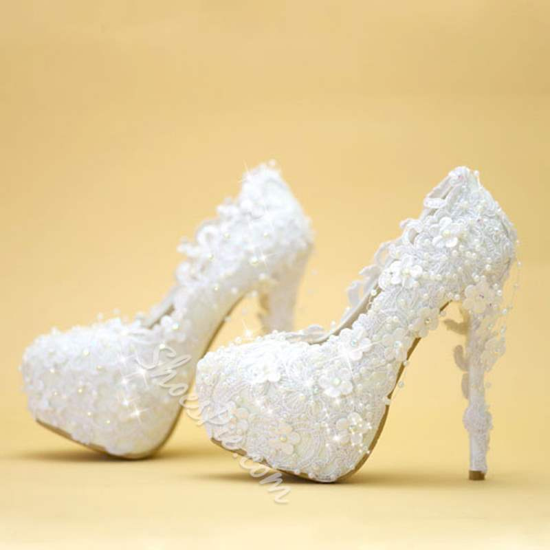 Shoespie Stylish Slip-On Platform Stiletto Heel Wedding Bridal Shoes