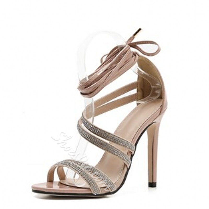 Shoespie Trendy Lace-Up Heel Covering Open Toe Dress Sandals