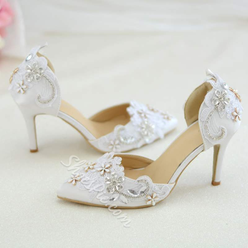 Shoespie Trendy Pointed Toe Rhinestone Stiletto Heel Bridal Shoes