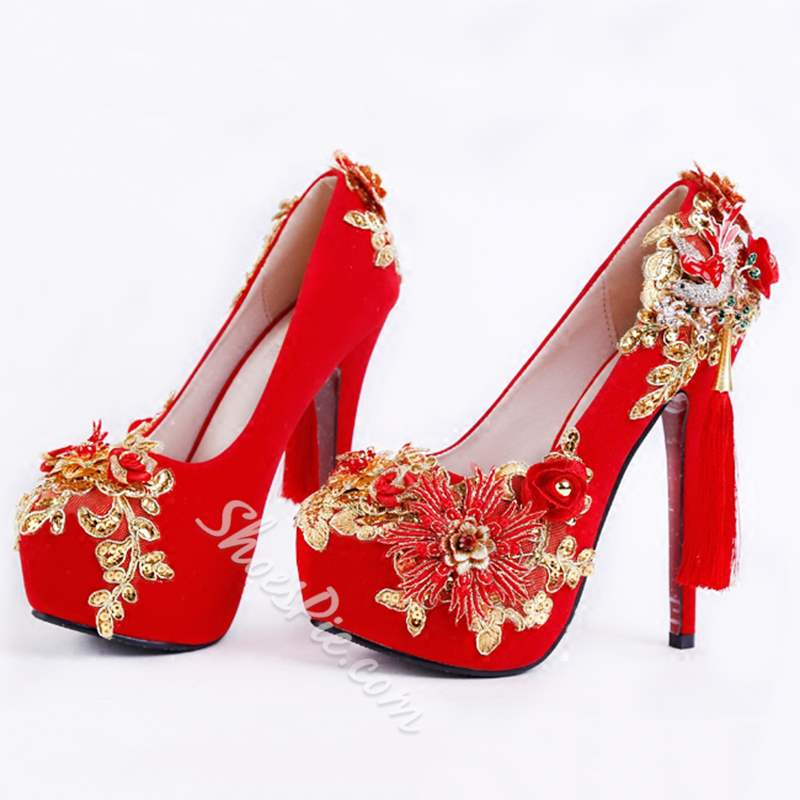 Shoespie Stylish Stiletto Heel Rhinestone Slip-On Wedding Bridal Shoes