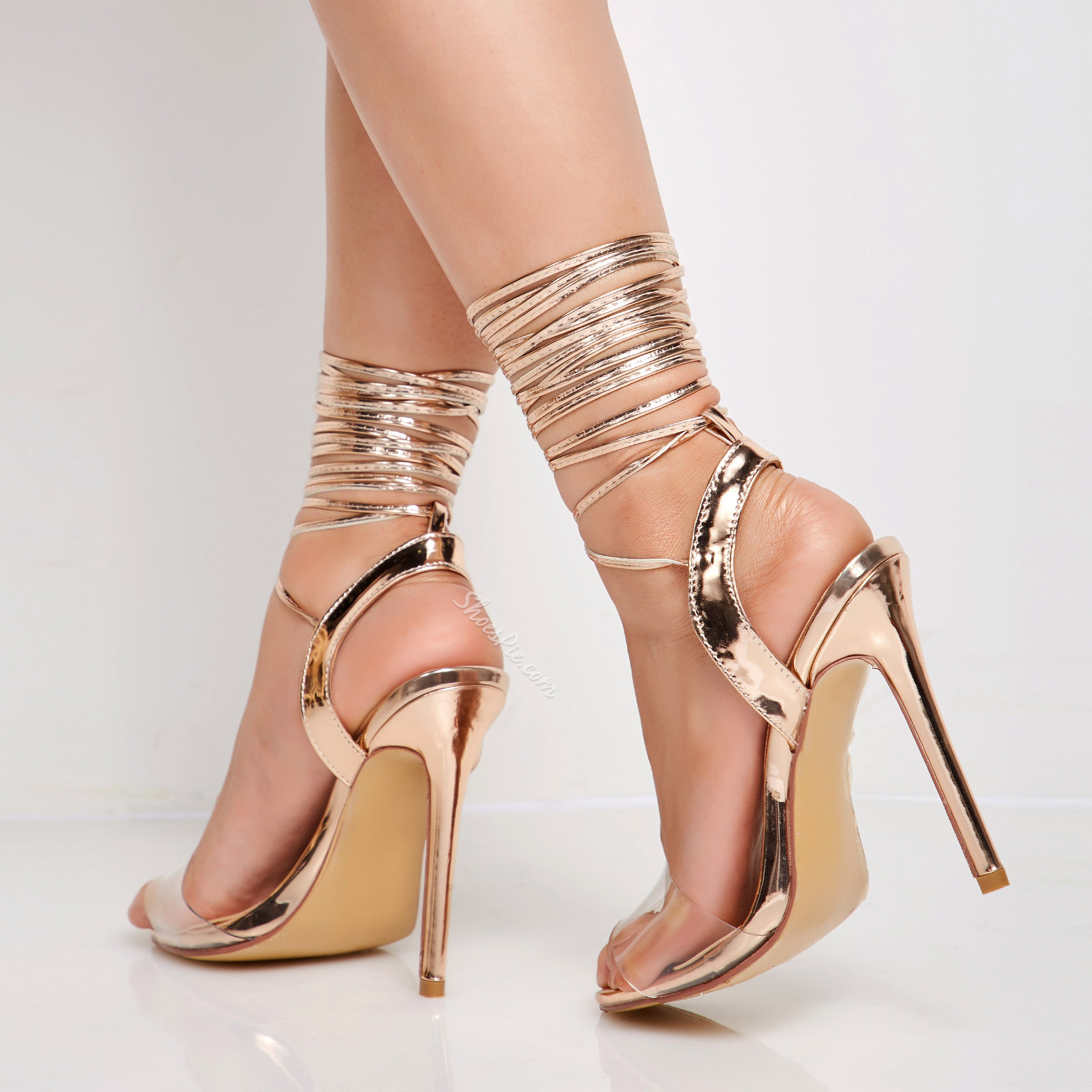 Shoespie Lace-Up Open Toe Gold Stiletto Heel Clear Sandals