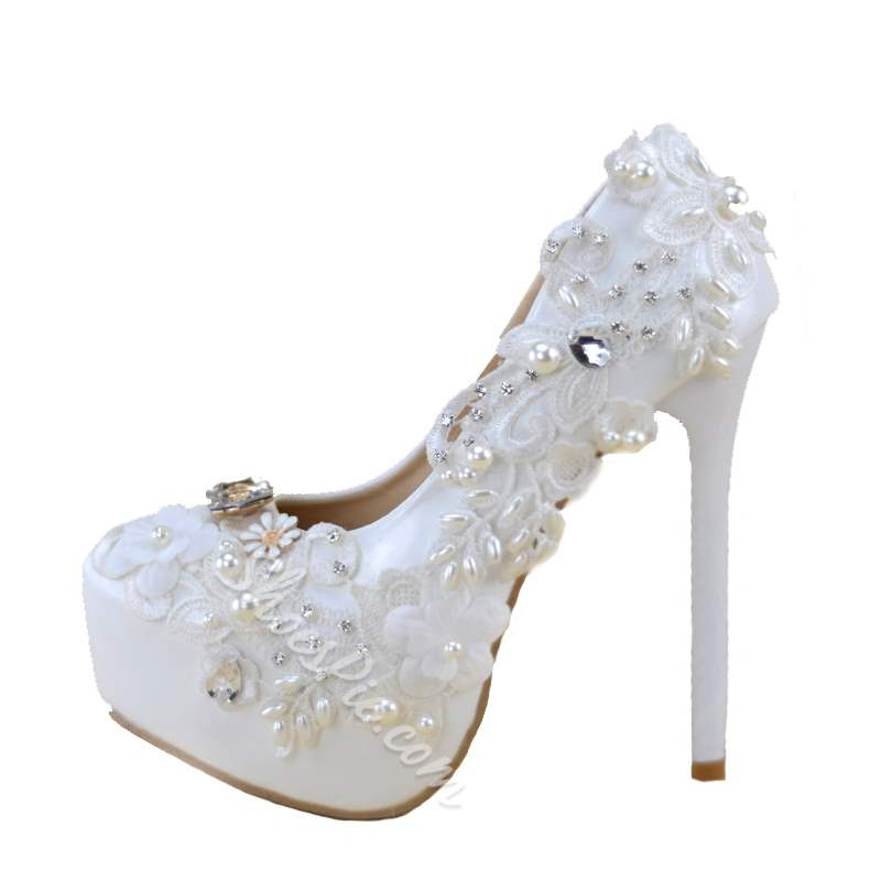 Shoespie Trendy Slip-On Platform Stiletto Heel Wedding Bridal Shoes