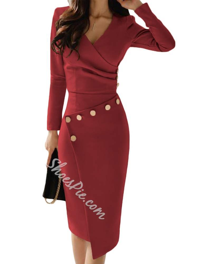Long Sleeve Wear to Work/Workwear Women's Bodycon Dress