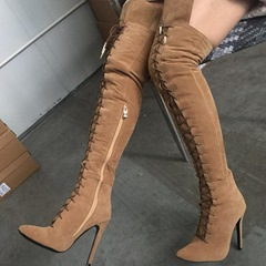 Shoespie Sexy Side Zipper Stiletto Heel Cross Strap Thigh High Boots
