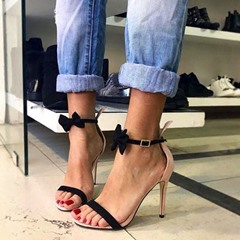 Shoespie Sexy Heel Covering Line-Style Buckle Stiletto Heel Bow Sandals