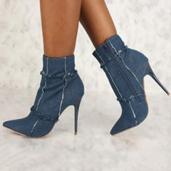 Shoespie Trendy Plain Pointed Toe Stiletto Heel Ankle Boots