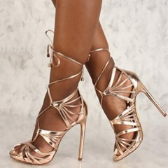 Shoespie Trendy Lace-Up Open Toe Stiletto Heel Dress Sandals
