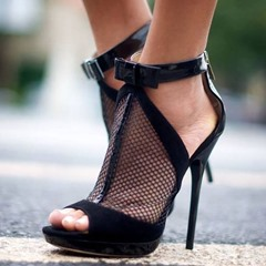 Shoespie Sexy Black Peep Toe Zipper Stiletto Heel Low-Cut Upper Dress Sandals
