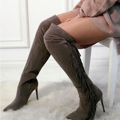 Shoespie Sexy Stiletto Heel Elastic Pointed Toe Thigh High Boots