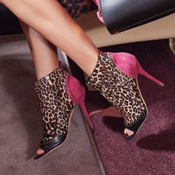 Shoespie Sexy Side Zipper Leopard Peep Toe PU Ankle Boots