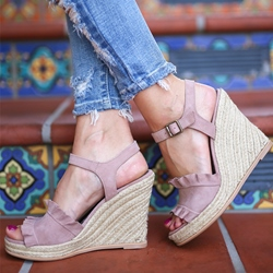 Shoespie Vintage Peep Toe Buckle Wedge Heel Sandals