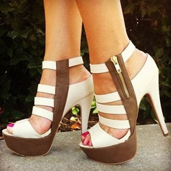 Shoespie Trendy Slingback Strap Peep Toe Zipper Platform Sandals
