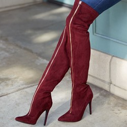 Shoespie Sexy Stiletto Heel Pointed Toe Suede Thigh High Boots